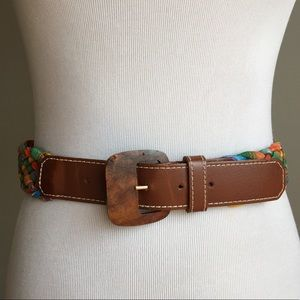 Vintage Colorful Leather Braided Belt Wood Buckle